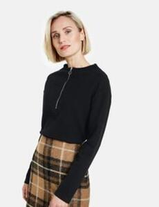 Sweatshirt mit Rippenstruktur Schwarz 42/M
