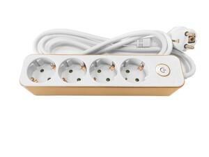 Powertec Electric Design-Steckdosenleiste, 4-fach - Weiß/Gold