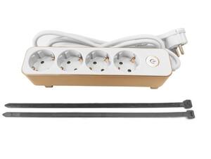 Powertec Electric Design-Steckdosenleiste, 4-fach mit Tischbefestigung - Weiß/Gold
