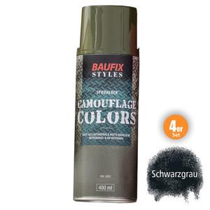 Baufix Camouflage-Sprühlacke - Schwarzgrau, 4er-Set