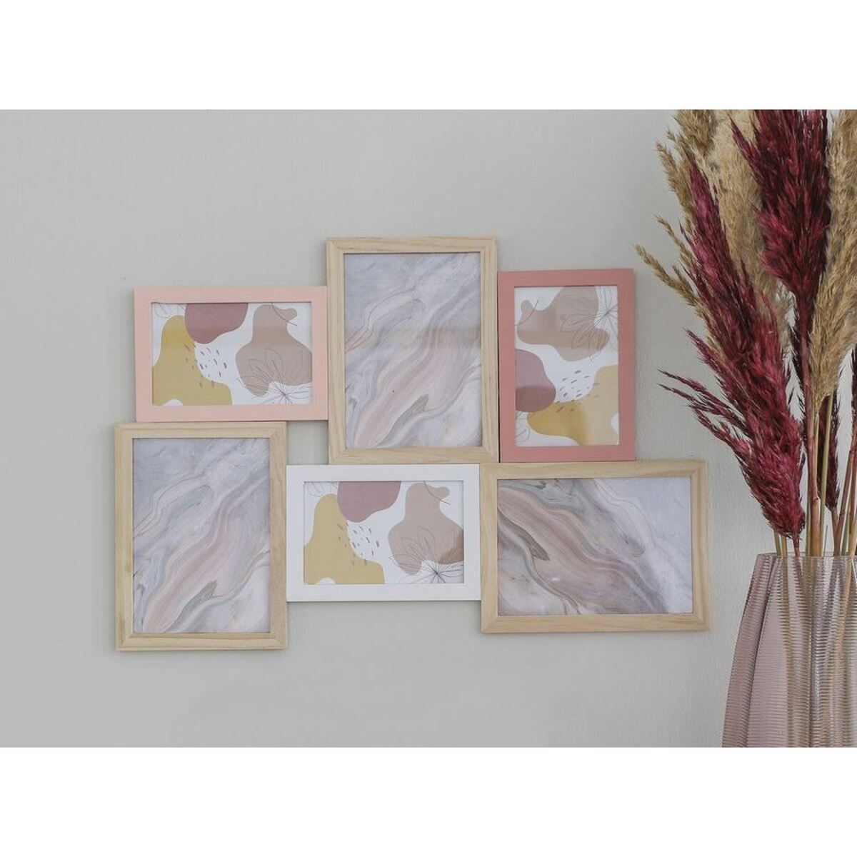 Bild 1 von Holz-Bilderrahmen für 6 Fotos Rosa/Weiß