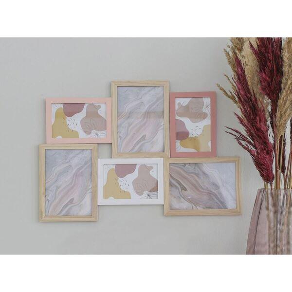 Holz-Bilderrahmen für 6 Fotos Rosa/Weiß