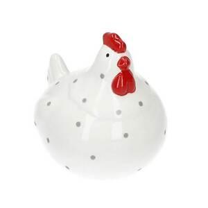 Deko Huhn Weiß/Punkte Keramik 8,6 x 8,6 x 7 cm