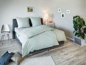 Face-2-Face Satin Bettwäsche »Uni Streifen chalk blue«,  Reißverschluss, Baumwolle