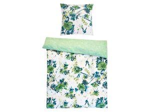 Dobnig Mako-Satin Bettwäsche »Blumen grün«, Wendedesign, mit Reißverschluss
