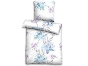 Biberna Satin Bettwäsche »Floral«, 135x200 cm, mit Reißverschluss, aus Baumwolle