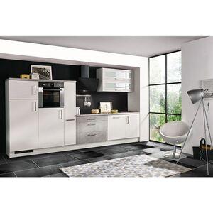 Respekta Premium Küchenzeile MERP350HWB 350cm weiß Hochglanz Lack - Beton-Optik