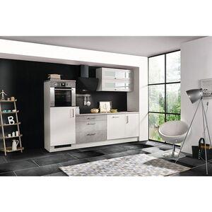 Respekta Premium Küchenzeile MERP260HWB 260cm weiß Hochglanz Lack - Beton-Optik