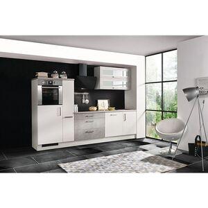 Respekta Premium Küchenzeile MERP290HWB 290cm weiß Hochglanz Lack - Beton-Optik