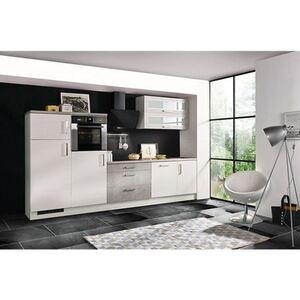 Respekta Premium Küchenzeile MERP320HWB 320cm weiß Hochglanz Lack - Beton-Optik
