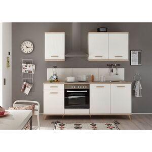 Respekta Premium Retro Küchenzeile BERP210RE 210cm weiß - Eiche sägerau Optik