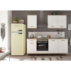 Respekta Premium Retro Küchenzeile BERP265RE 265cm weiß - Eiche sägerau Optik