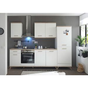 Respekta Premium Retro Küchenzeile BERP275RE 275cm weiß - Eiche sägerau Optik