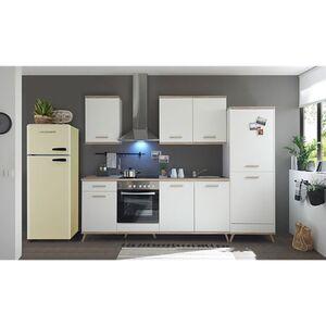 Respekta Premium Retro Küchenzeile BERP330RE 330cm weiß - Eiche sägerau Optik