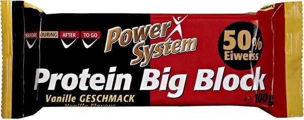 """Power System              Protein Big Block Eiweiß Riegel """"Vanille Geschmack"""""""