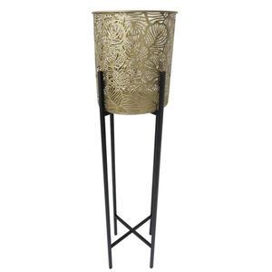 Ambia Home Blumentopf , Gm60-4958 , Schwarz, Goldfarben , Metall , 97.5 cm , pulverbeschichtet, lackiert , 0085270213