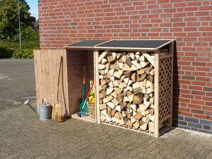 Promadino Kaminholzregal »Speyer«, Kiefer natur, 2in1 Geräte- und Brennholzschrank