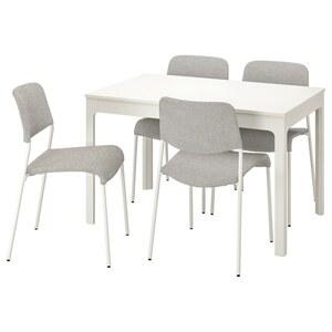 EKEDALEN / UDMUND Tisch und 4 Stühle, weiß weiß/Viarp beige/braun