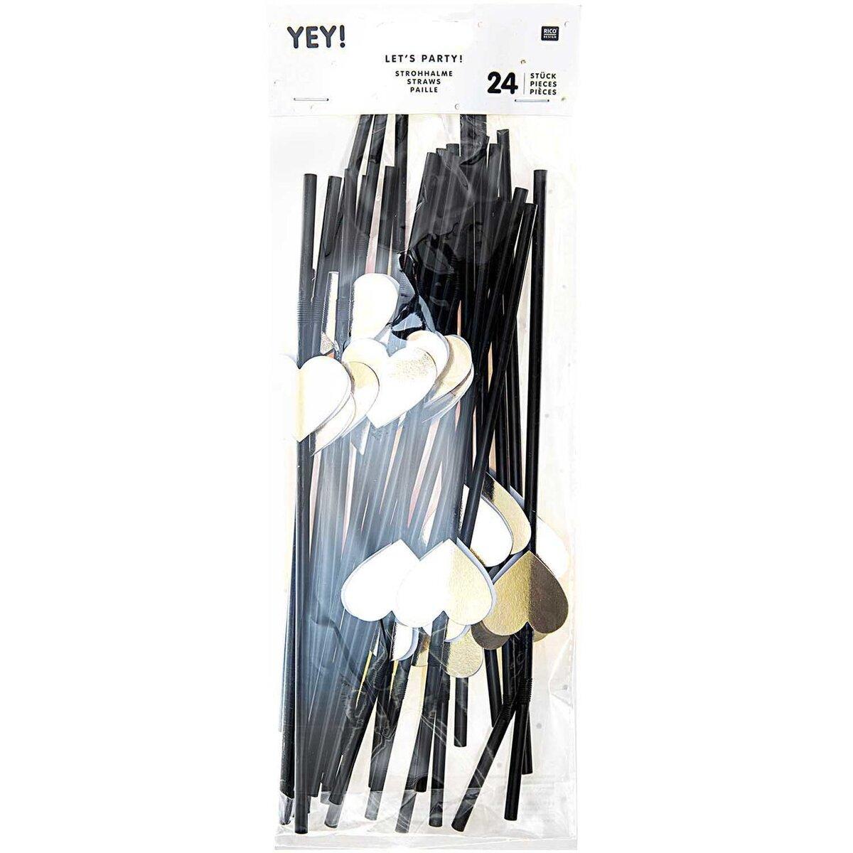 Bild 2 von YEY! Let's Party Strohhalm Herz gold 24 Stück