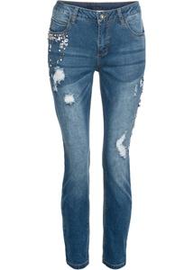 Jeans mit Steinchen und Destroyed-Effekten