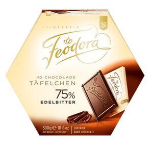 Feodora Chocoladen-Täfelchen Edelbitter 75%, 300 g