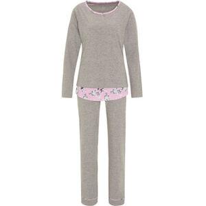 Desirée Pyjama, floraler Einsatz am Saum, Melange, für Damen