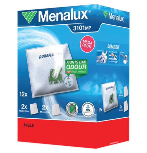 Menalux Staubbeutel 3101 12 Staubbeutel + 2 Microfilter + 2 Motorfilter für Miele