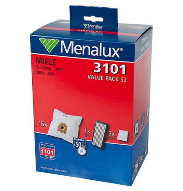 Menalux Duraflow 3101 Staubsaugerbeutel, für Miele S2, 15-teilig