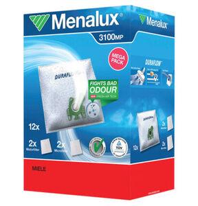 Menalux 3100 MP 12 Staubbeutel mit 2 Microfilter und 2 Motorfilter für Miele