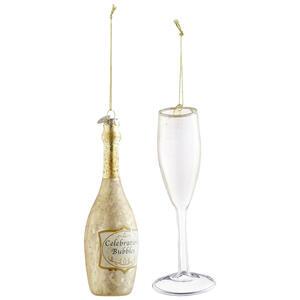 X-Mas Christbaumkugel-set 2-teilig champagner, transparent , 120868 , Glas , 003754143401