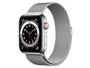 Apple Watch Series 6, Cellular, 44 mm, Edelstahl silber, Milanaise silber