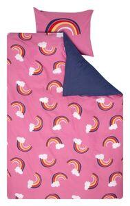 HEMA Kinder-Bettwäsche - Baumwolle - 140 X 200 Cm - Rosa Mit Regenbogenmuster