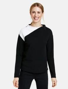 Sweatshirt mit Lift-Up Kragen Schwarz 44/L