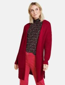 Lange Strickjacke aus Grobstrick Rot 34/XS