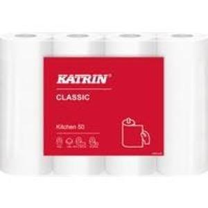 4 Rollen Katrin Classic Qualitätshaushaltspapier 50 2-lagig, weiß, sehr saugfähig