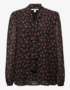 Esprit - Bluse mit Schluppe und Allover-Print