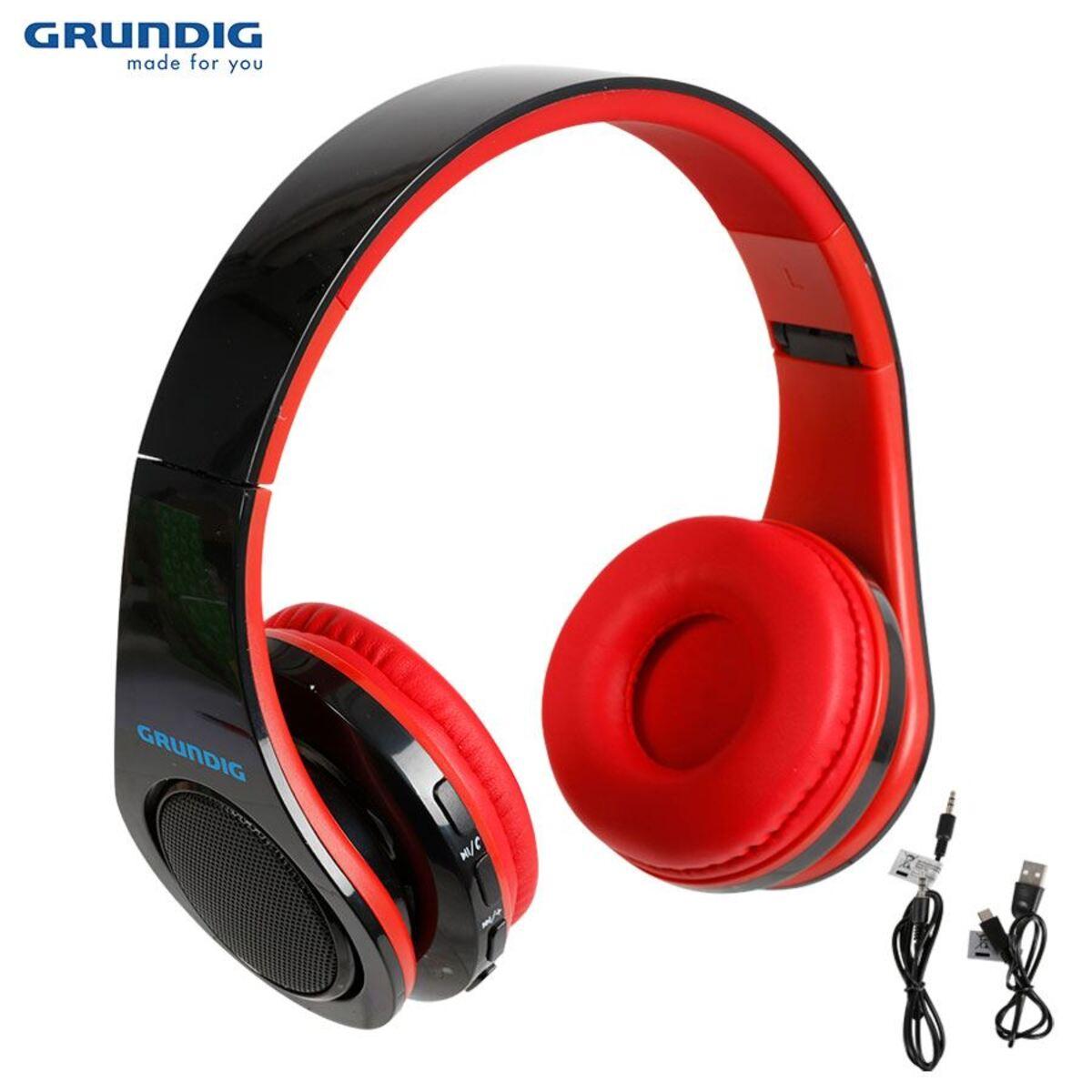 Bild 1 von Grundig Bluetooth-Stereo-Kopfhörer mit LED-Diskolicht Rot/Schwarz