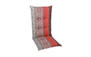 Garten-Sesselauflage in rot/grau, Hochlehner