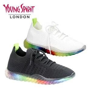 Modische Damen-Sneaker  Obermaterial aus Textil, Sohle in Laufsohle Regenbogen-Optik Größen: 37 - 41