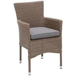 Ambia Garden Gartensessel grau, hellbraun , NEW Bork Chair , Metall, Kunststoff, Textil , 62x87x57 cm , pulverbeschichtet,glänzend,beschichtet , stapelbar , 001273000401