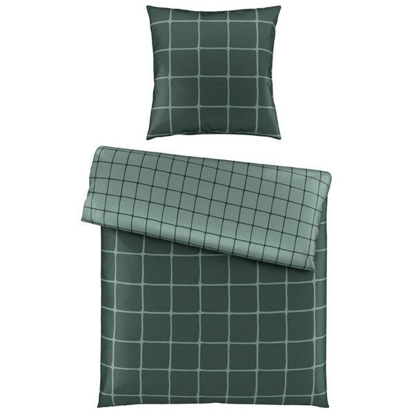 Bio:Vio Bettwäsche satin grün 155/220 cm , Champ Check , Textil , Karo , 155x220 cm , Satin , 004378015002