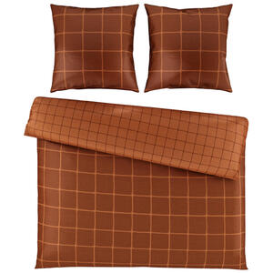 Bio:Vio Bettwäsche satin terra cotta 200/200 cm , Champ Check , Textil , Karo , 200x200 cm , Satin , 004378015104