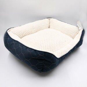 Hundebett orthopädisch Hundekorb Hundesofa Hundekörbchen Tierbett blau / beige