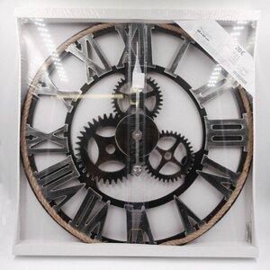 Wanduhr mit Zahnrädern, schwarz, ca. 60 x 4,5 x 60 cm