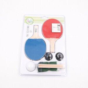 4-teiliges Mini-Tischtennis-Set mit Schlägern, Ball und Netz, Holz/Kunststoff