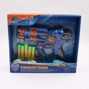 Schaumstoff Shotgun mit 5 Soft Darts / Schaumstoffpfeile, blau, 21 x 15 x 3 cm