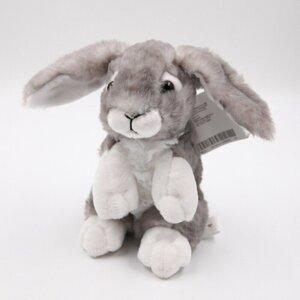Super weicher Plüsch-Hase mit Schlappohren, grau, sitzend, ca. 20 cm, Polyester