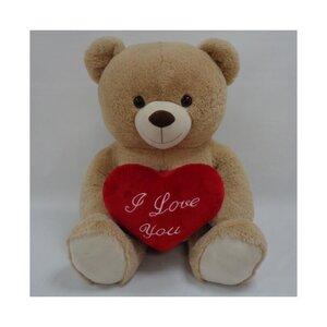 "Teddybär ""I love you"", mit rotem Herz, 76 cm, beige"
