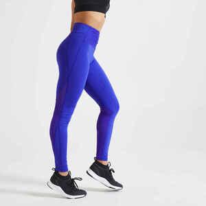 Leggings hoher Taillenbund Fitness figurformend blau