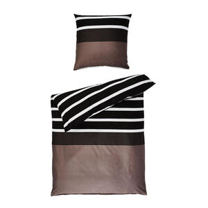 Janine Bettwäsche biber braun, schwarz 200/200 cm , Davos 65030-07 , Textil , Streifen , 200x200 cm , Biber , pflegeleicht, atmungsaktiv, hautfreundlich, angenehm wärmend, saugfähig, schadstoffgep